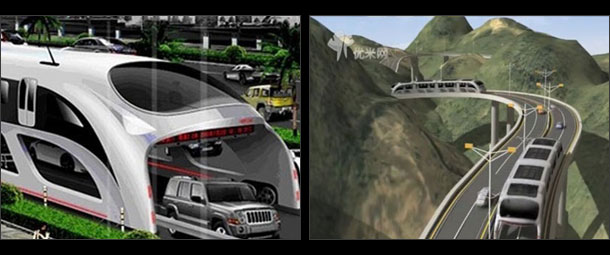 Giant traffic-straddling bus on A Parallel World